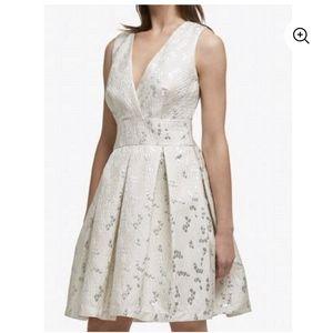 DKNY Pleated v-neck Dress